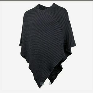 Love Your Melon Charcoal Knit Poncho